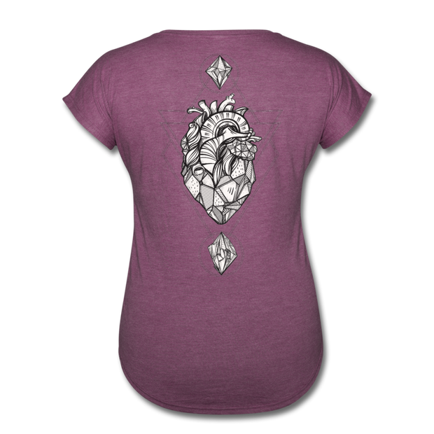 Heart of Stone Women's Tri-Blend V-Neck T-Shirt - heather plum