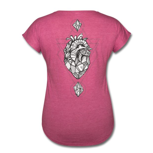 Heart of Stone Women's Tri-Blend V-Neck T-Shirt - heather raspberry