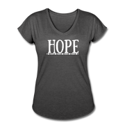 Hope Women's Tri-Blend V-Neck T-Shirt - deep heather