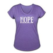 Hope Women's Tri-Blend V-Neck T-Shirt - purple heather