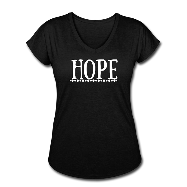 Hope Women's Tri-Blend V-Neck T-Shirt - black