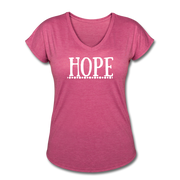 Hope Women's Tri-Blend V-Neck T-Shirt - heather raspberry