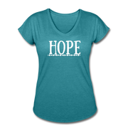 Hope Women's Tri-Blend V-Neck T-Shirt - heather turquoise