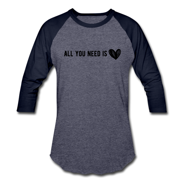 All You Need is Love Baseball T-Shirt - heather blue/navy