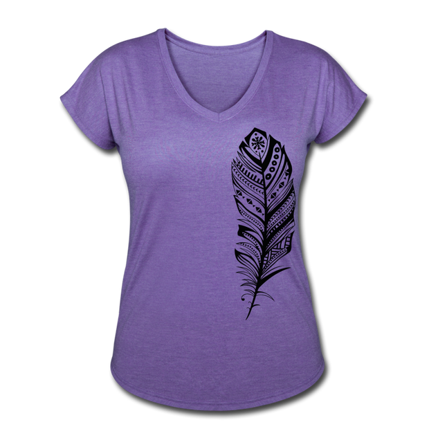 Feather Women's Tri-Blend V-Neck T-Shirt - purple heather
