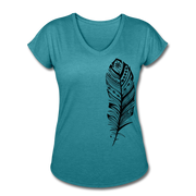 Feather Women's Tri-Blend V-Neck T-Shirt - heather turquoise