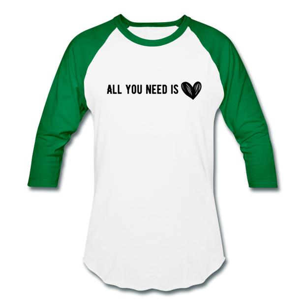 All You Need is Love Baseball T-Shirt - white/kelly green