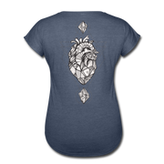 Heart of Stone Women's Tri-Blend V-Neck T-Shirt - navy heather