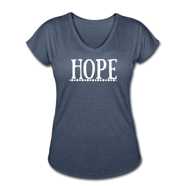 Hope Women's Tri-Blend V-Neck T-Shirt - navy heather
