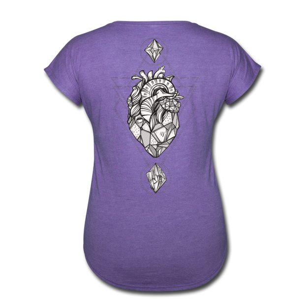 Heart of Stone Women's Tri-Blend V-Neck T-Shirt - purple heather