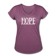 Hope Women's Tri-Blend V-Neck T-Shirt - heather plum