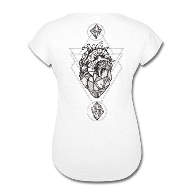 Heart of Stone Women's Tri-Blend V-Neck T-Shirt - white