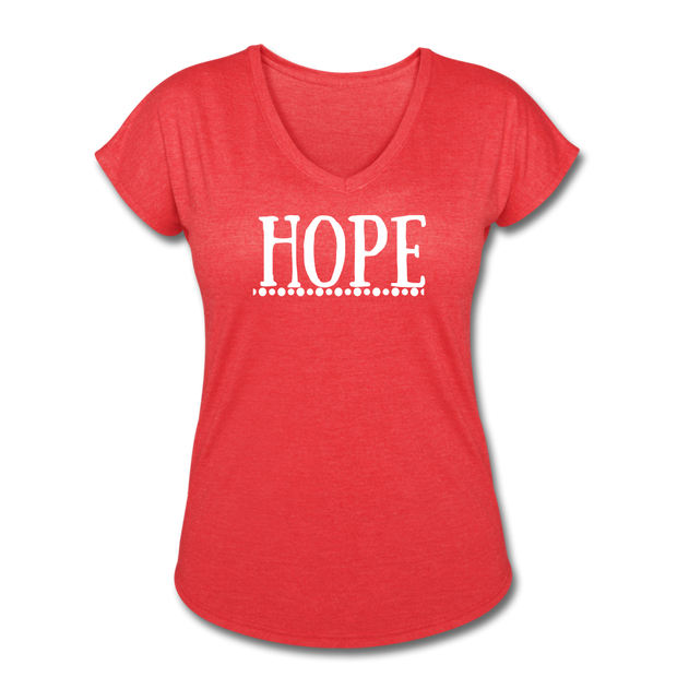 Hope Women's Tri-Blend V-Neck T-Shirt - heather red