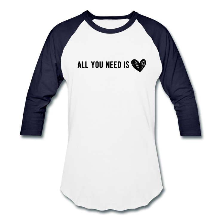 All You Need is Love Baseball T-Shirt - white/navy
