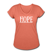 Hope Women's Tri-Blend V-Neck T-Shirt - heather bronze