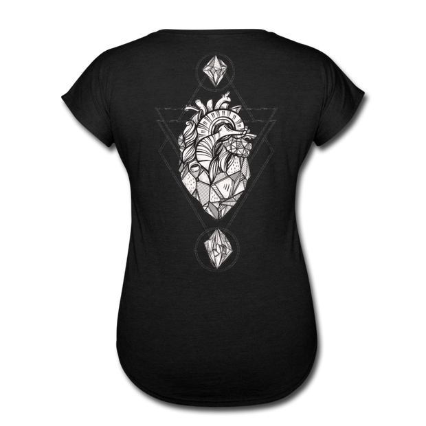 Heart of Stone Women's Tri-Blend V-Neck T-Shirt - black