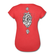 Heart of Stone Women's Tri-Blend V-Neck T-Shirt - heather red