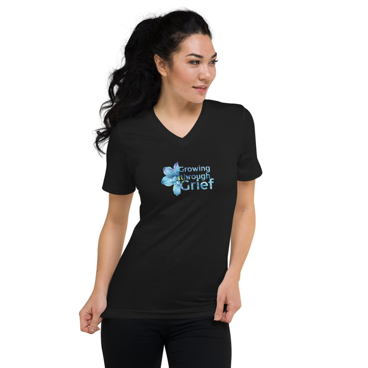 Growing Through Grief Unisex Short Sleeve V-Neck T-Shirt