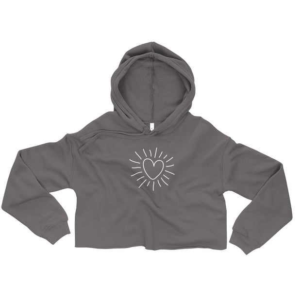 Heart burst Fleece Crop Hoodie