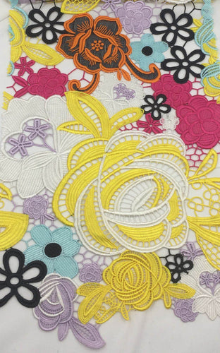 3 Meters Designer Multi Color Embroidery Fabric for Dresses Wedding Decorations and More