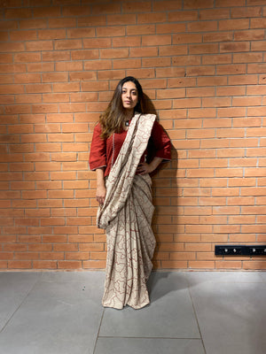 Mitti Print Saree - Auruhfy India