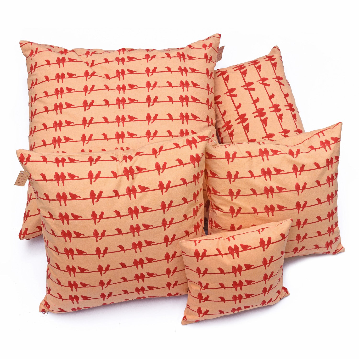 Whispering Red Birds Cushion Cover (12x20) - Auruhfy India