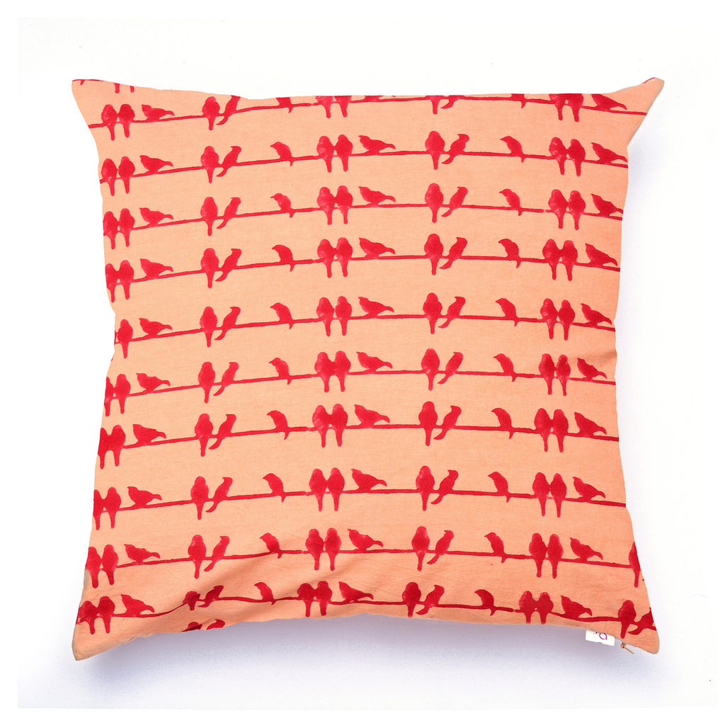 Whispering Red Birds Cushion Cover - Auruhfy India