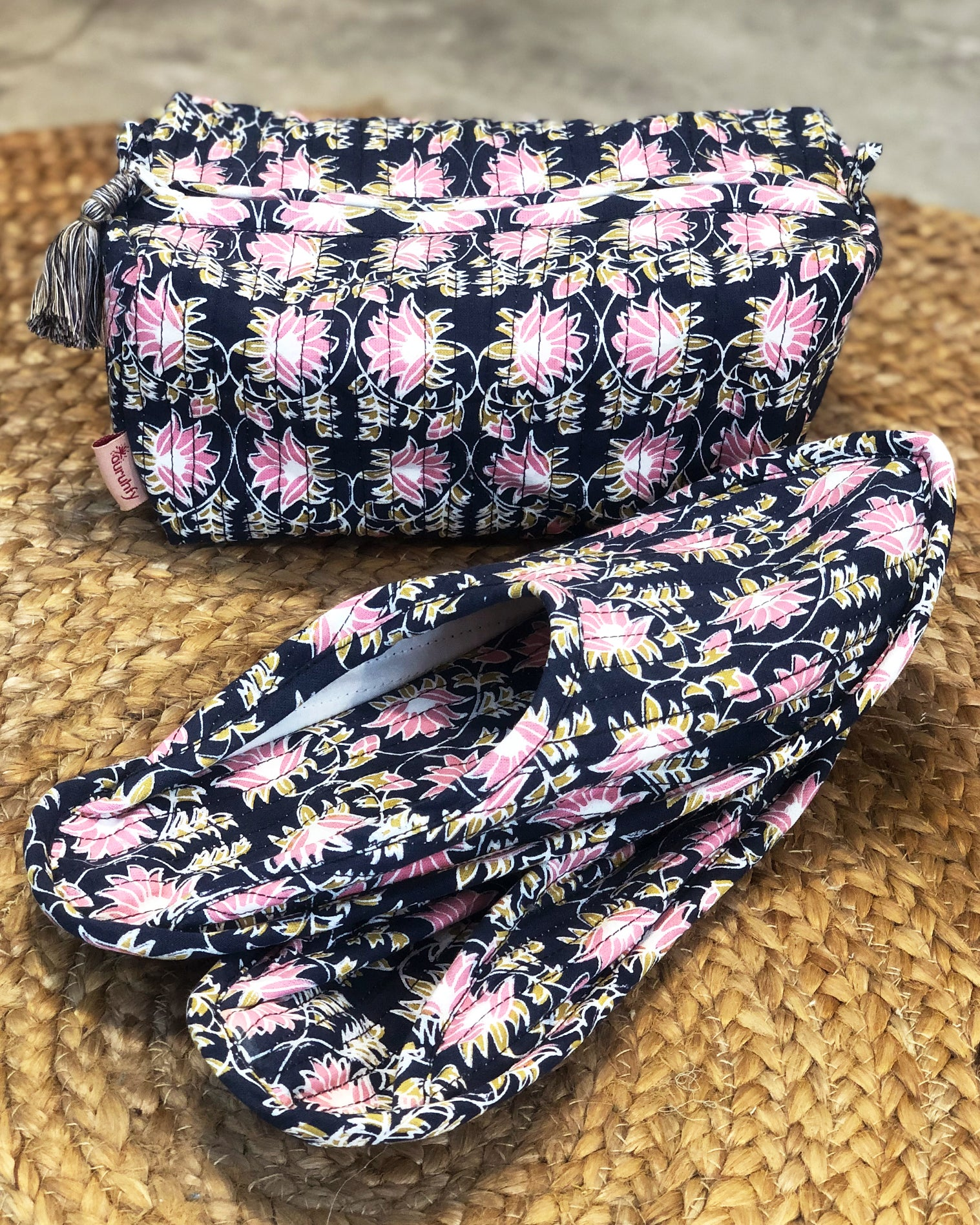 Midnight Blue and Pink Lotus Print Travel Set - Auruhfy India