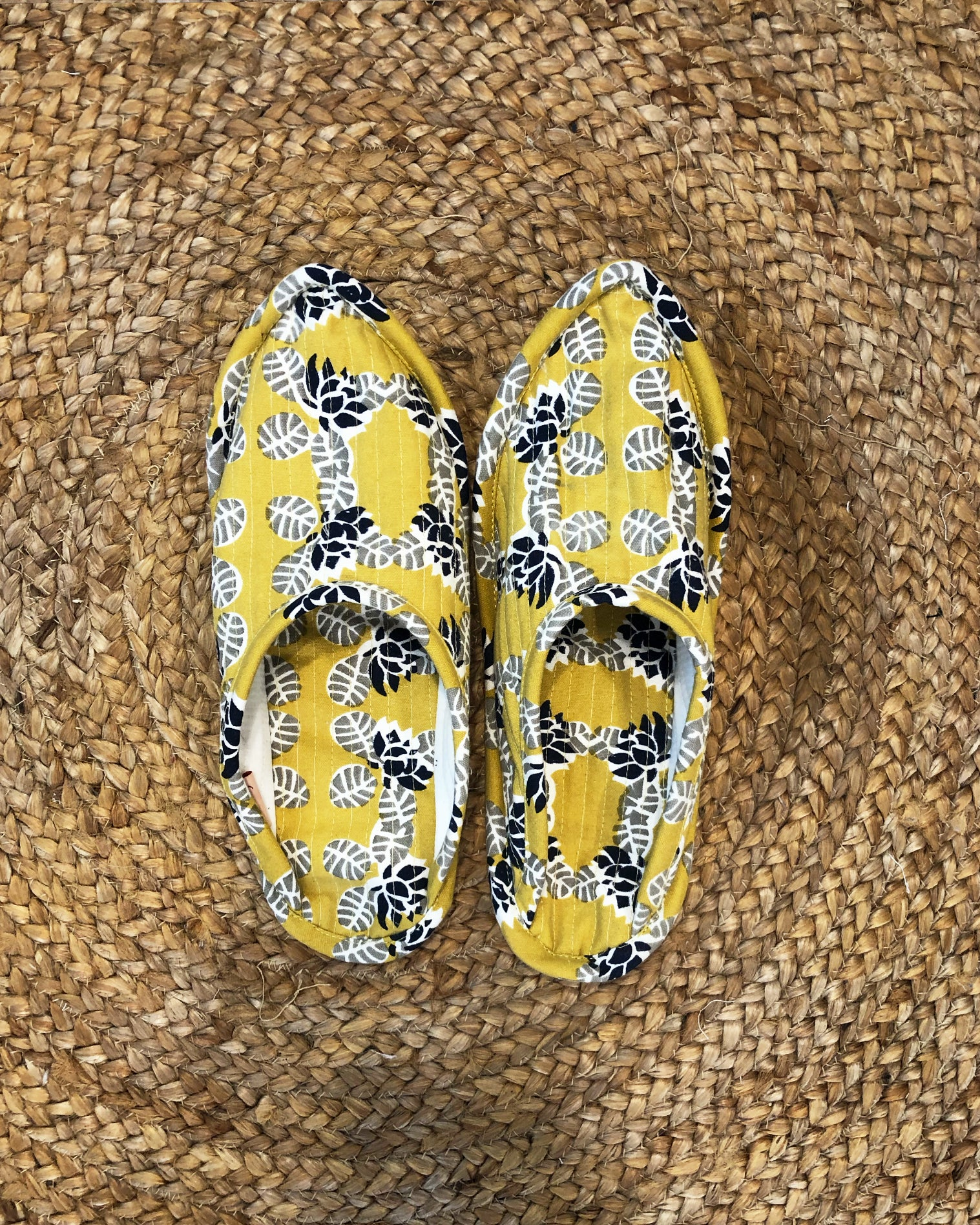 Lotus in Pond Print Indoor Slippers (Ochre) - Auruhfy India