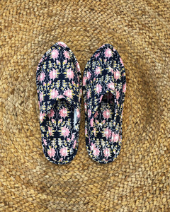 Midnight Blue and Pink Lotus Print Indoor Slippers - Auruhfy India