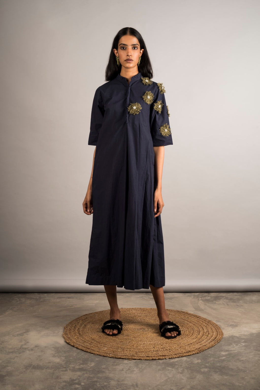 Midnight Blue Half Pleated Embellished Dress - Auruhfy India