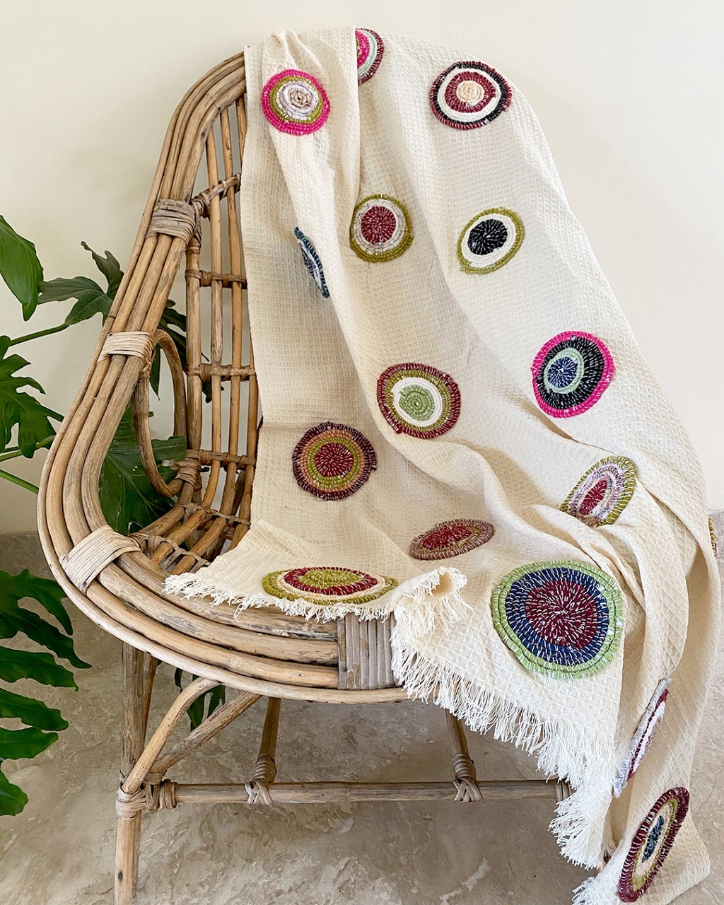Beige Circle Multi Color Throw - Auruhfy India