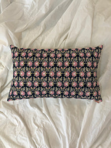 Midnight Blue and Pink Lotus Print Cushion Cover (12x20) - Auruhfy India