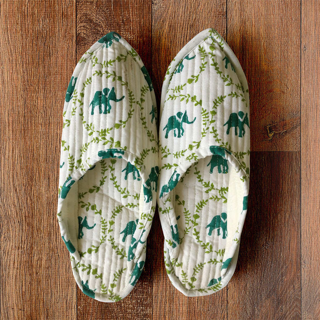 Polka Elephant Indoor Slippers - Auruhfy India
