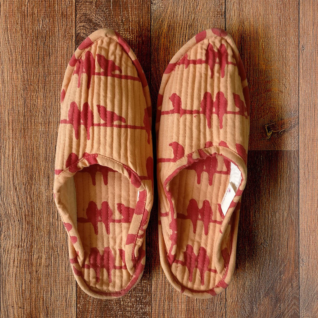 Whispering Red Birds Indoor Slippers - Auruhfy India