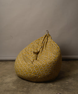 Ochre Lotus Pod print Bean Bag (Cover) - Auruhfy India