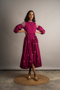 Cowl Embroidered Dress - Auruhfy India