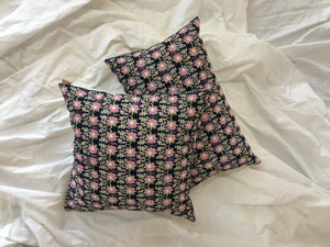 Midnight Blue and Pink Lotus print Cushion Cover - Auruhfy India
