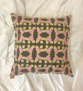 Lotus in Pond Print Cushion Cover (Gray) - Auruhfy India