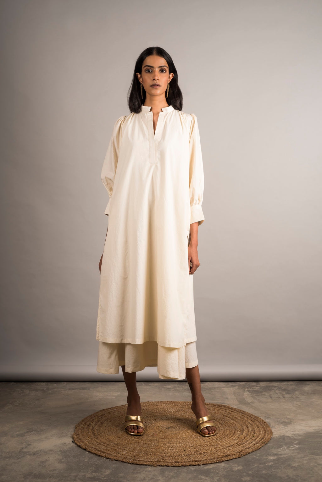 Ecru Layered Dress - Auruhfy India