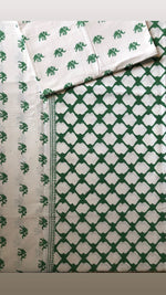 Block Print Double Bed Sheet with Pillow Covers - Auruhfy India