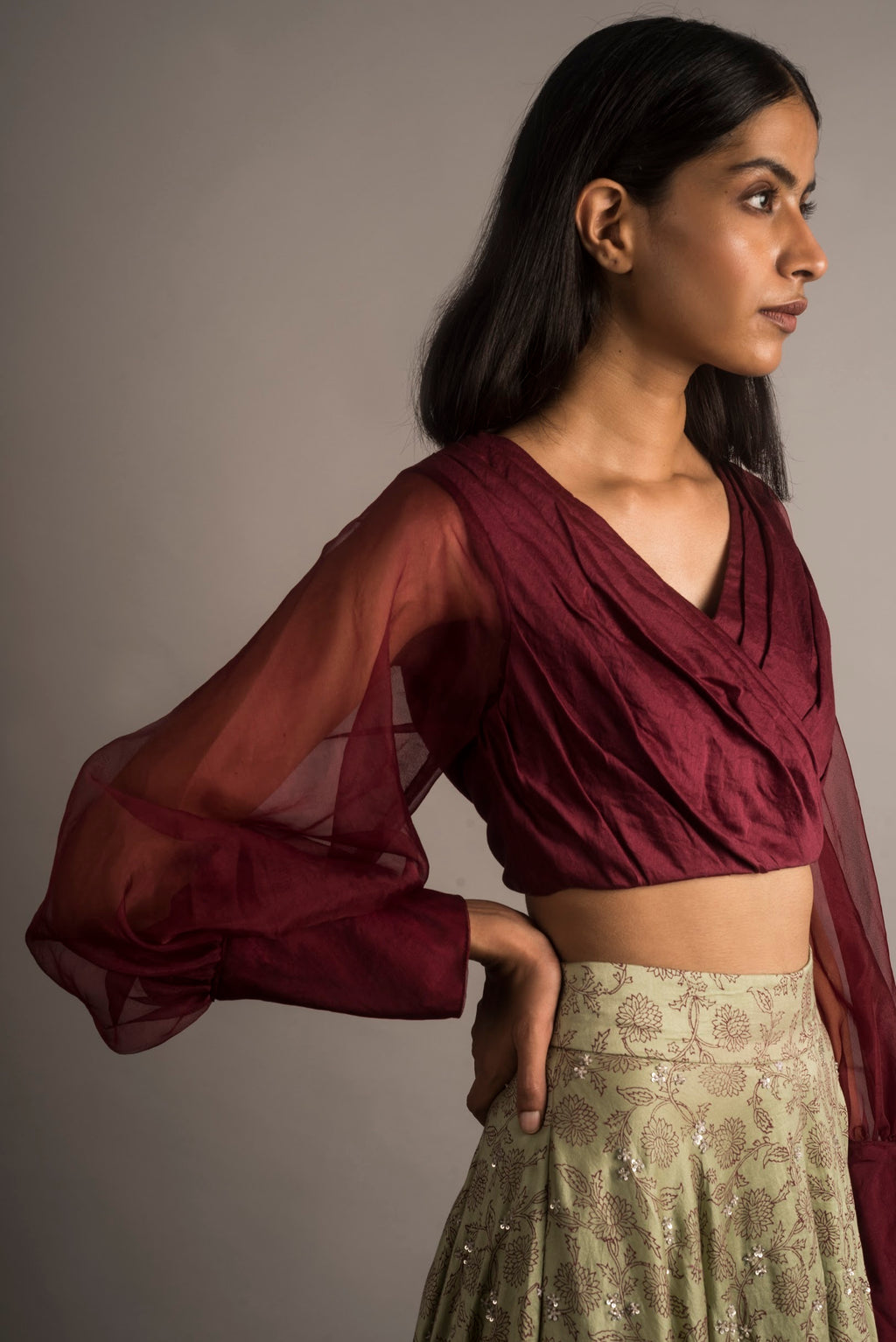 Plum Draped Crop Top - Auruhfy India