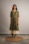 Moss Green Layered Tunic Set - Auruhfy India