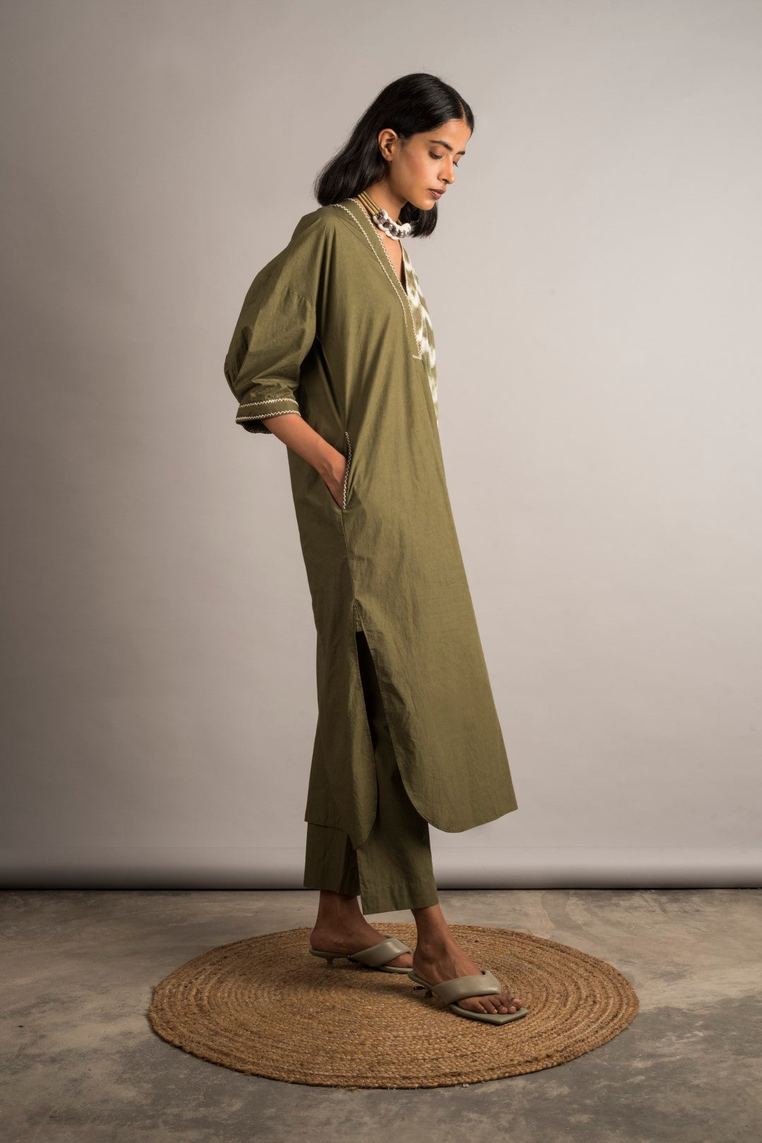 Moss Green Tunic/Set - Auruhfy India