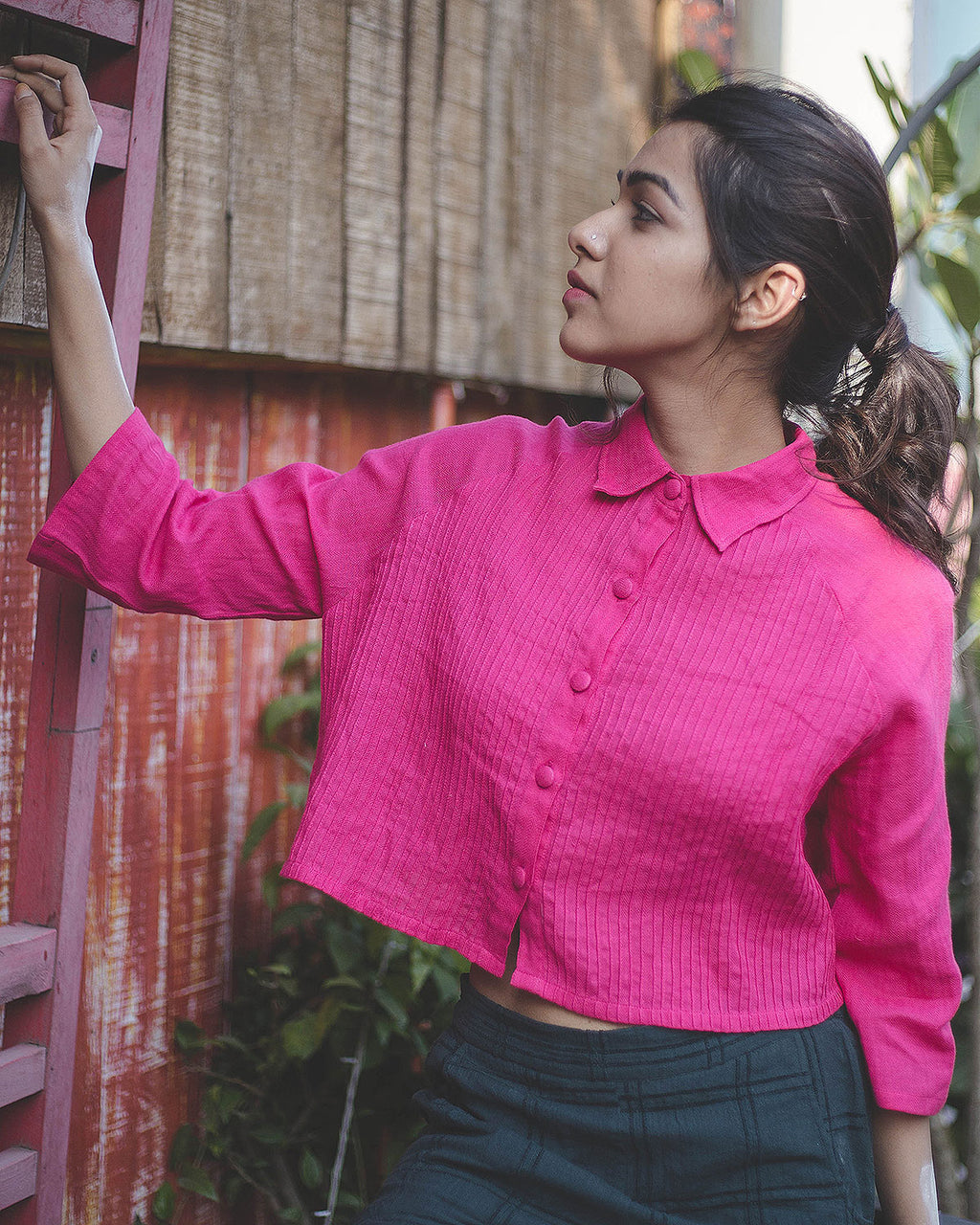 Rani Pink Pintuck Crop Shirt - Auruhfy India
