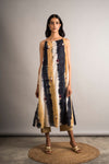 Striped Tie-Dye Embroidered Dress - Auruhfy India