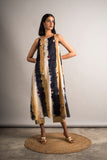 Striped Tie-Dye Embroidered Set - Auruhfy India