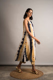 Striped Tie-Dye Embroidered Dress / Set - Auruhfy India