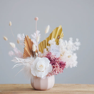 Pink and white preserved flowers arrangement - Florii Flower Studio