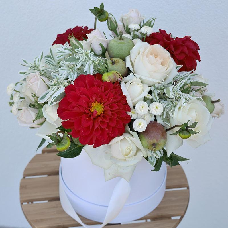 Anatasia red dahlias with white roses flower box florii flower anatasia red dahlias with white roses flower box florii flower studio mightylinksfo